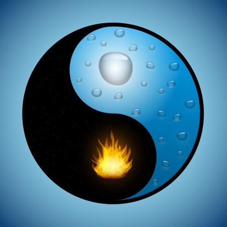 水滴と変更された陰と陽シンボルで火災  イラスト・ベクター素材