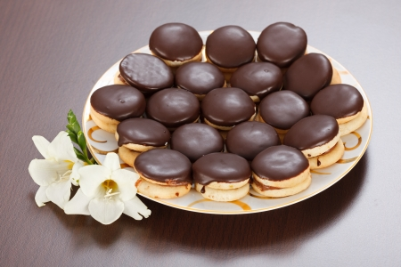 coated: Ischler cookies coated with dark chocolate glaze on plate