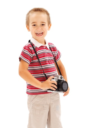 stock photograph: Happy little boy with photo camera