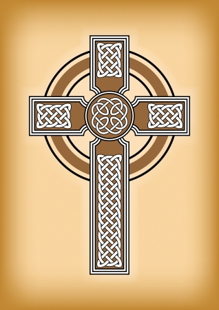 symbolic cross: Celtic cross on brown vintage background