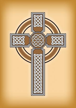 celtic culture: Celtic cross on brown vintage background