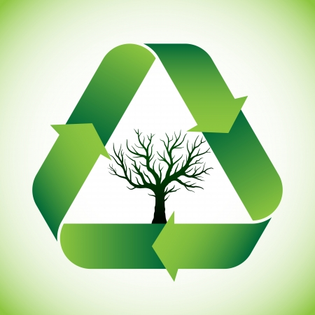 recycle tree: Bald tree in green recycle symbol