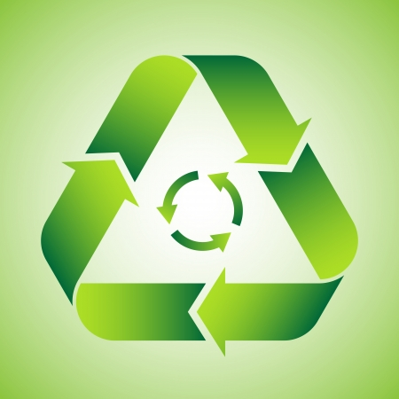 reusing: Recycle symbol on green background Illustration