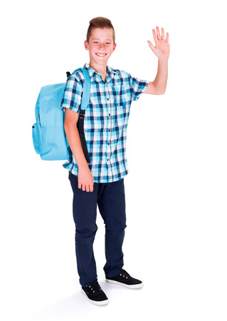 greets: Happy student in blue, waving with hand or showing high five Stock Photo