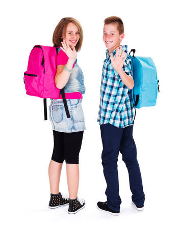 secondary schools: Happy students smiling and waving with backpack on Stock Photo