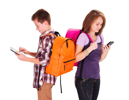 Kids back to school with tablet and smartphone photo