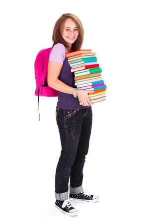 kindly: Pretty teenager girl with many books, smiling kindly