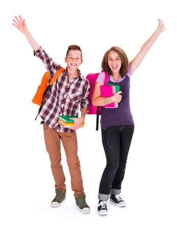 Adolescents with backpack and books in hands cheering