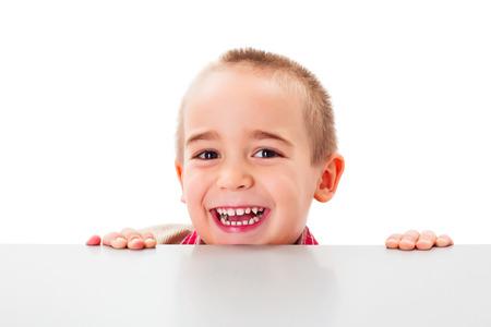 joyfully: Little boy over white background laughing joyfully Stock Photo