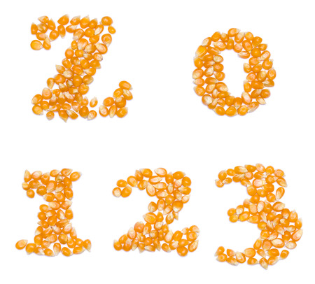 null: Letter set made of corn seeds - capital letter Z and numbers 4 5 6 7 8 9