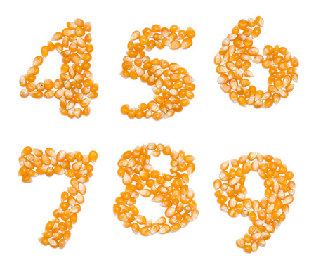 6 7: Letter set made of corn seeds - numbers 4 5 6 7 8 9