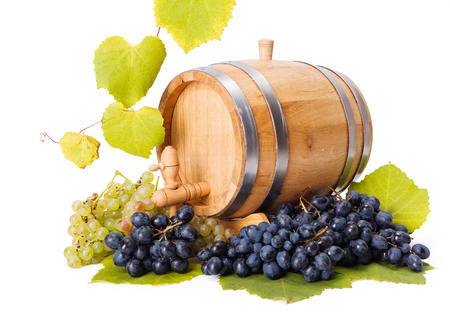 White and blue grape clusters around barrel, leaves decoration