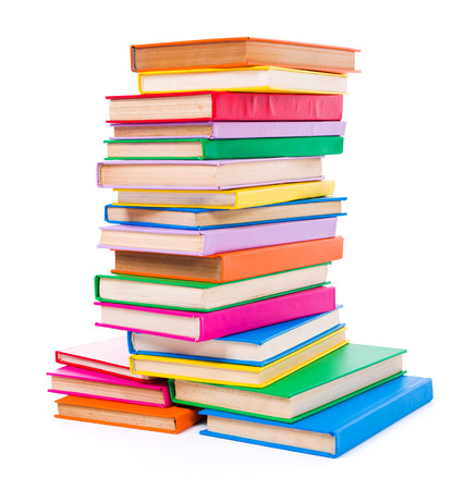 Stack of colorful books on white background Stock Photo