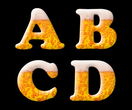 alphabet beer: Beer letter set characters on black - A B C D capital letters