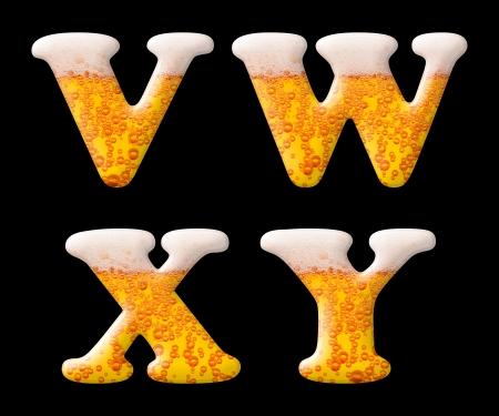 carbondioxide: Beer letter set characters on black - V W X Y capital letters