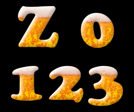 carbondioxide: Beer letter set characters on black - Z capital letter and numbers 0 1 2 3