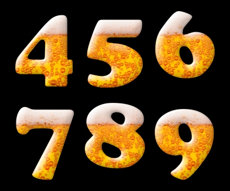 beer bubbles: Beer letter set characters on black - numbers 4 5 6 7 8 9