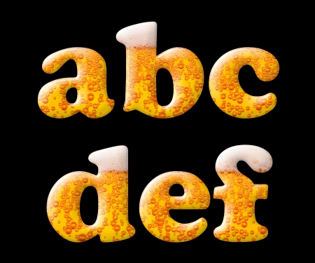 carbondioxide: Beer letter set characters on black -  lowercase letters