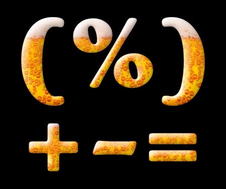 carbondioxide: Beer letter set characters on black - mathematical symbols