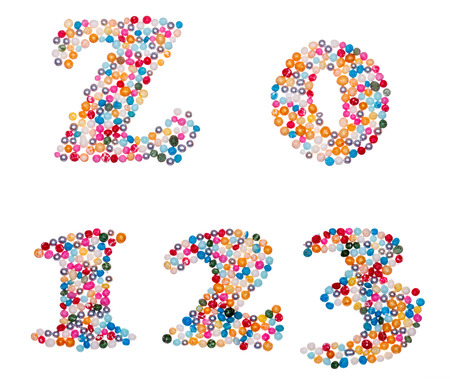 null: Number set made of colorful sprinkles - capital letter Z and numbers 0 1 2 3