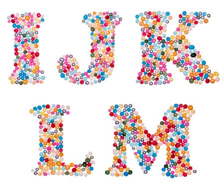 letter: Letter set made of colorful sprinkles - capital letters I J K L M