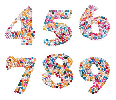6 7: Number set made of colorful sprinkles - numbers 4 5 6 7 8 9