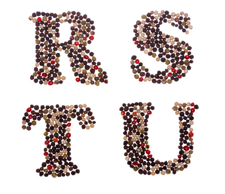 u s a: Letter set made of mixed peppercorns - capital letters R S T U Stock Photo