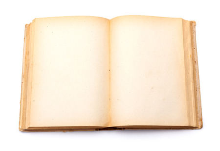 Top view of old book with empty yellowed pages photo