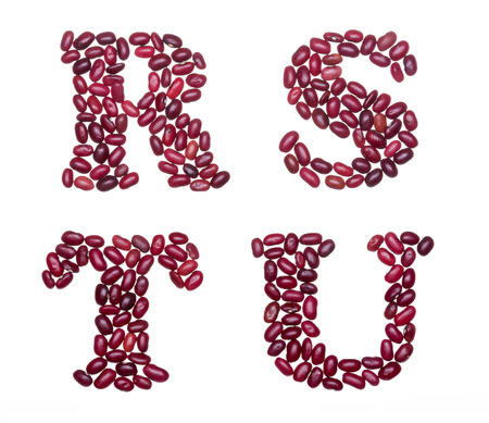 u s: Letter set made of red kidney beans - capital letters R S T U