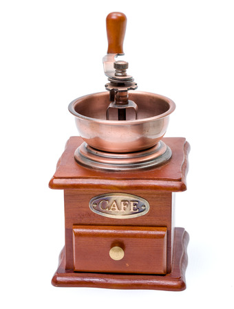 grinder: Wooden coffee grinder on white