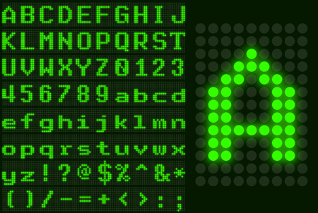 Green monospace dotted LED display letter set Vector