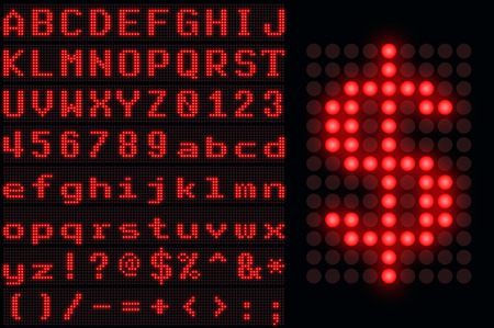led display: Red monospace dotted LED display letter set