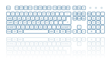 functions: Front view of a virtual computer keyboard, reflection on white background