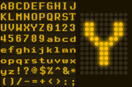 led display: Yellow monospace dotted LED display letter set