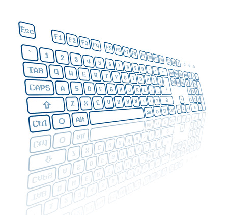 input device: Blue virtual keyboard in perspective view, reflection on white