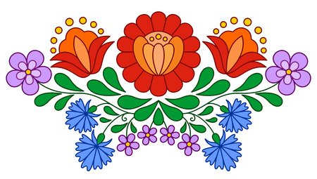 Traditional Hungarian folk embroidery pattern isolated on white