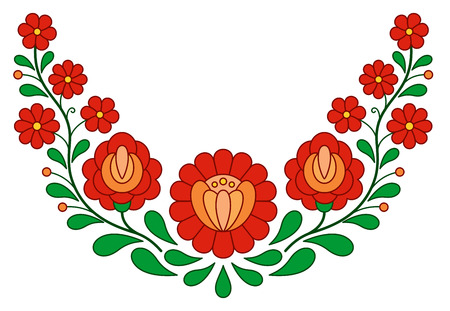 folk art: Traditional Hungarian folk embroidery pattern isolated on white