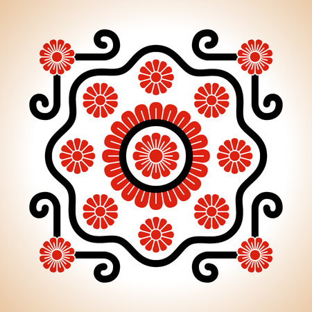 transylvania: Hungarian red and black embroidery motives decoration with flowers and curly lines