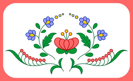 hungarian: Traditional Hungarian embroidery floral patterns isolated on white