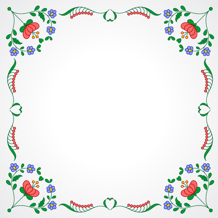 hungarian: Traditional Hungarian embroidery frame with floral patterns Illustration
