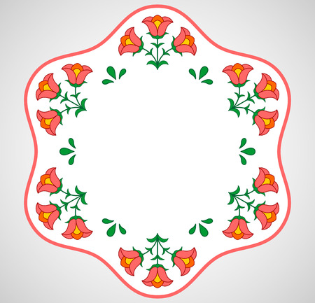 hungarian: Traditional Hungarian embroidery hexagonal frame with floral patterns around
