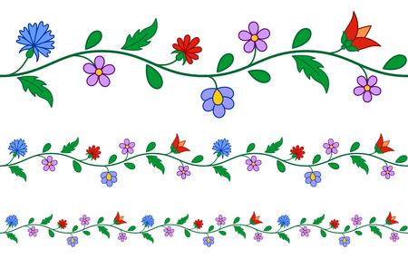 水平方向にシームレスなハンガリー刺繍花柄  イラスト・ベクター素材