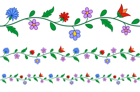 folk art: Horizontally seamless Hungarian embroidery floral pattern