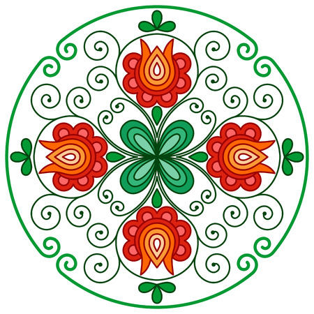 rounded: Hungarian floral embroidery decoration in rounded frame Illustration