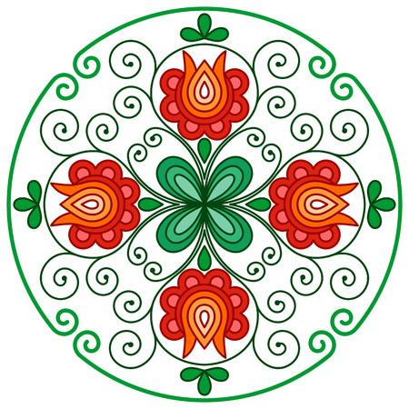 Węgierski kwiatowy haft dekoracji w zaokrągloną ramą Ilustracje wektorowe