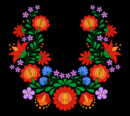 hungarian: Traditional Hungarian folk embroidery pattern isolated on black Illustration