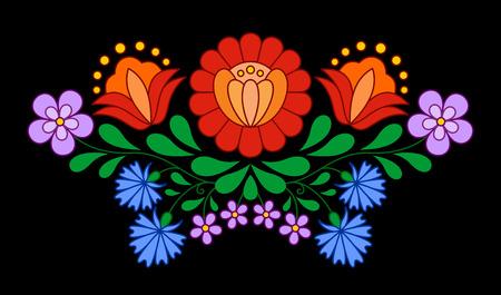bordados: Patr�n de bordado popular h�ngara tradicional aislado en negro