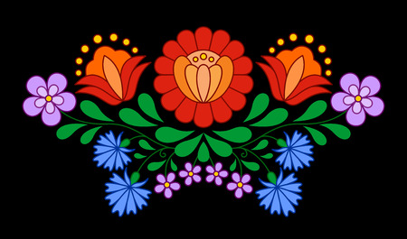 Traditional Hungarian folk embroidery pattern isolated on black Ilustração