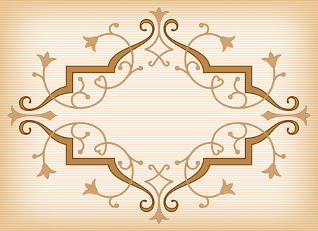 Baroque ornament in Victorian style with abstract tulips, curly lines decoration and copy space in the center