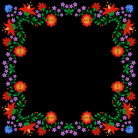 traditional tradition: Traditional Hungarian folk embroidery pattern isolated on black Illustration